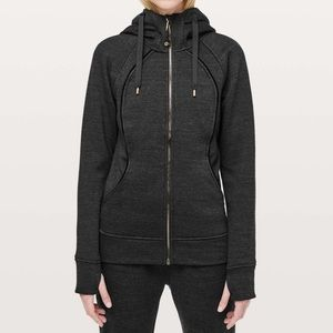 LULULEMON SCUBA HOODIE plush gray/black 10 fleece